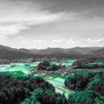 緑色の空の異世界